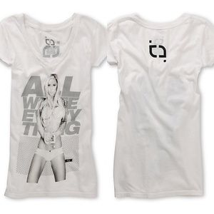 All White Everything Sexy Graphic Soft V-Neck Tee